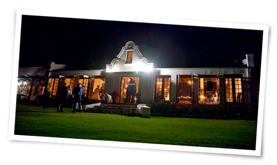 Evening photograph of reception after wedding